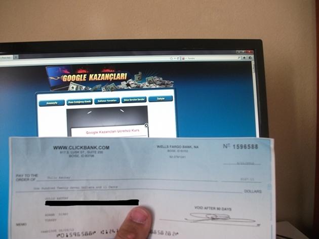 Google Kazançları Ozan Bey'in Çek Ekranı