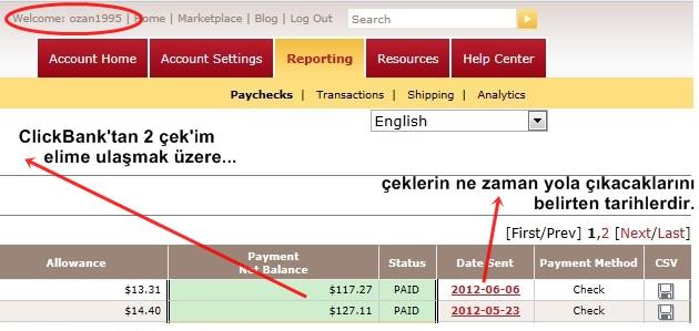 Google Kazançları Kanıtı Clickbank Çek Ekranı